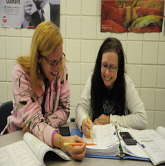 High School Equivalency students studying during class